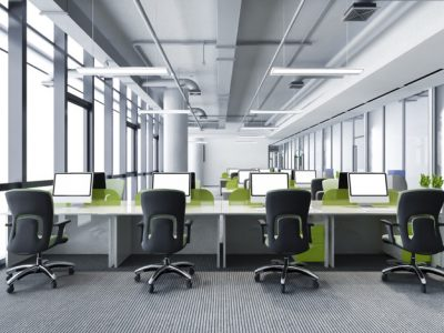 3d rendering green business meeting and working room on office building